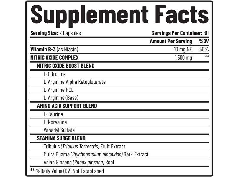 no2 boost supplement fact